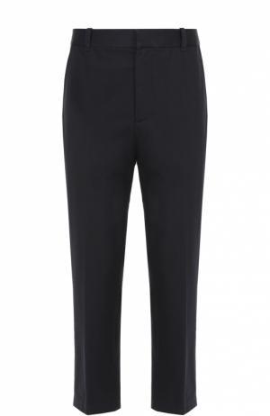 Хлопковые брюки прямого кроя с заниженной линией шага 3.1 Phillip Lim. Цвет: темно-синий
