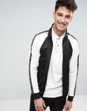 Hollister Черная спортивная куртка классического кроя на молнии с лентой рука. Цвет: черный
