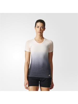Футболка спортивная жен. PKNIT TEE DD W Adidas. Цвет: бежевый, серый