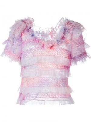 Тюлевый топ с короткими рукавами Ryan Lo. Цвет: розовый и фиолетовый