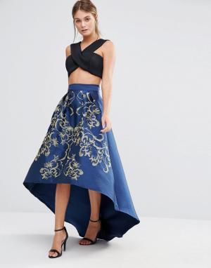 Chi London Пышная юбка-премиум миди с золотистой вышивкой. Цвет: темно-синий