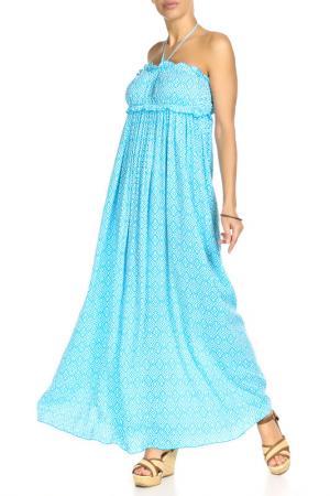 Платье длинное ВЕНДЕТТА. Цвет: голубой