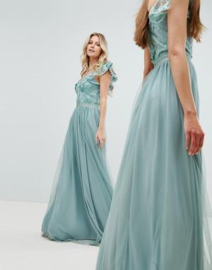 Amelia Rose Платье макси с отделкой на лифе и рукавами-оборками. Цвет: зеленый