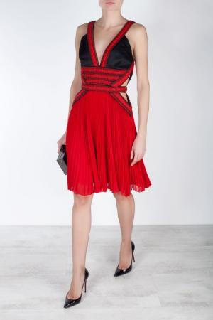 Платье из искусственного шелка Jason Wu. Цвет: черный, красный