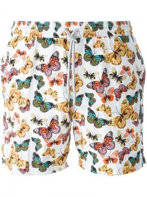 Плавательные шорты с принтом бабочек Capricode. Цвет: белый