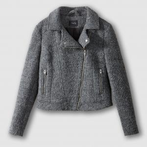 Блузон в байкерском стиле из шерсти, BICTOIRE SCHOOL RAG. Цвет: серый