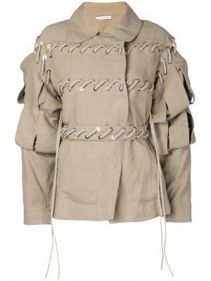 Куртка с резной отделкой на рукавах JW Anderson. Цвет: телесный