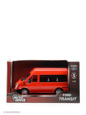 Форд Транзит 1:32, инерц., пластиковая машинка AUTODRIVE. Цвет: красный