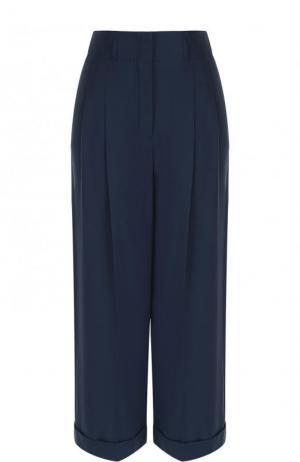 Укороченные хлопковые брюки с защипами Loro Piana. Цвет: темно-синий