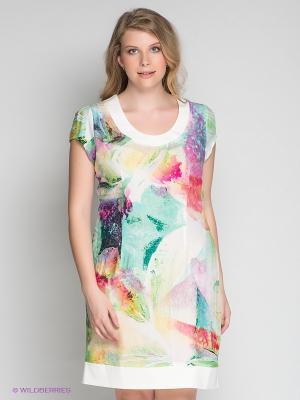 Платье Klimini. Цвет: кремовый, зеленый, розовый