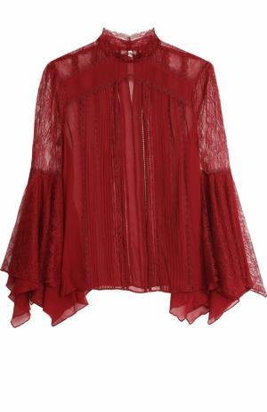 Шелковая кружевная блуза с расклешенными рукавами Alice + Olivia. Цвет: бордовый
