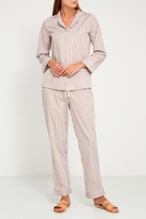 Бежевая пижама с брюками Primrose. Цвет: бежевый