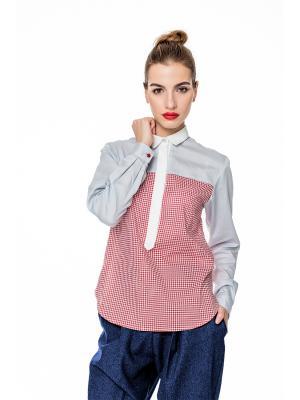 Блуза WHITE TIE Stimage. Цвет: светло-серый, красный, белый
