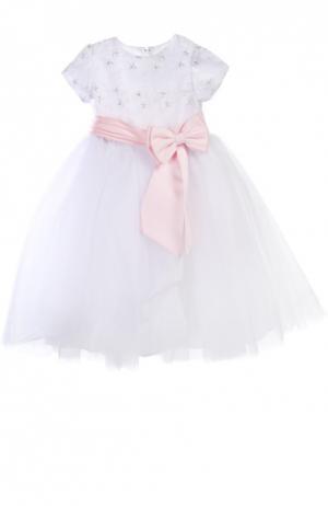 Платье с поясом Sarah Louise. Цвет: белый