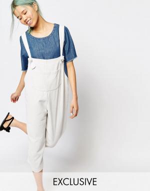Zacro Свободный джинсовый комбинезон с карманом спереди. Цвет: белый