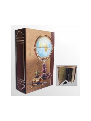 Шкатулка-сейф Глобус арт.39516 (17*11*5см,из МДФ  с дверцей из черного металла) Magic Home. Цвет: коричневый