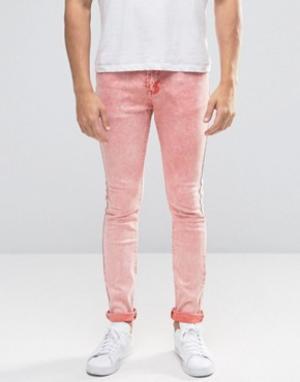 Always Rare Выбеленные розовые джинсы супероблегающего кроя. Цвет: розовый