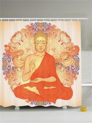 Фотоштора для ванной Буддизм, 180*200 см Magic Lady. Цвет: оранжевый, бежевый, фиолетовый