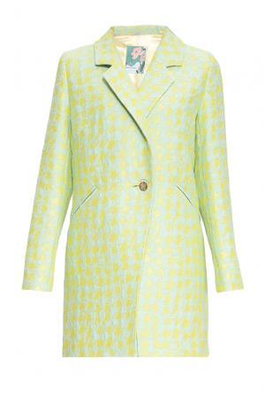 Летнее пальто из хлопка с искусственным шелком и вискозой 163192 Anna Verdi. Цвет: зеленый