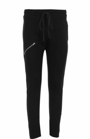 Хлопковые зауженные брюки с поясом на резинке Lost&Found. Цвет: черный