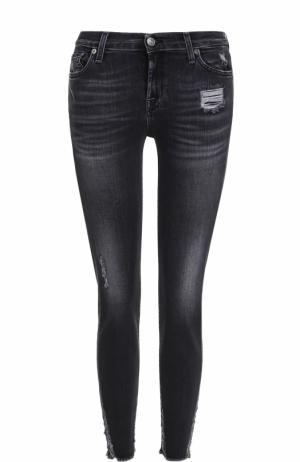 Укороченные джинсы-скинни с потертостями 7 For All Mankind. Цвет: черный