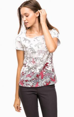 Трикотажная футболка с принтом olsen. Цвет: белый