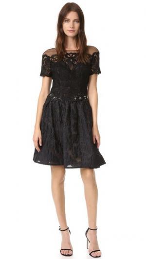 Коктейльное платье из парчи Marchesa Notte. Цвет: голубой