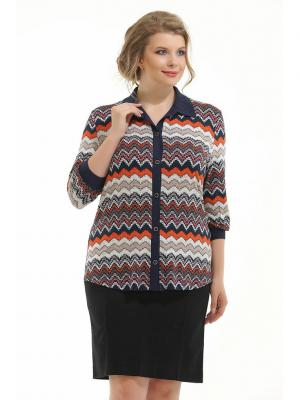 Блузка Four Line. Цвет: темно-синий, молочный, оранжевый