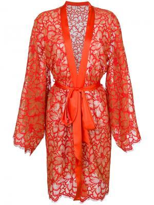 Кружевной халат Dolci Follie. Цвет: жёлтый и оранжевый