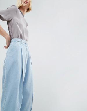 ASOS White Выбеленные голубые джинсы в винтажном стиле. Цвет: синий