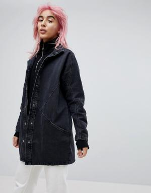 ASOS Выбеленная черная джинсовая куртка с рукавами летучая мышь. Цвет: черный