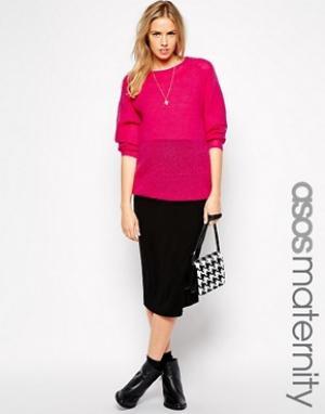 ASOS Maternity Трикотажная юбка-карандаш миди для беременных. Цвет: черный