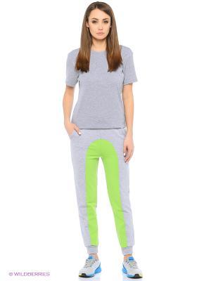 Спортивные брюки FORLIFE. Цвет: серый, салатовый