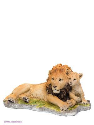 Статуэтка Лев с детенышем Veronese. Цвет: рыжий, зеленый