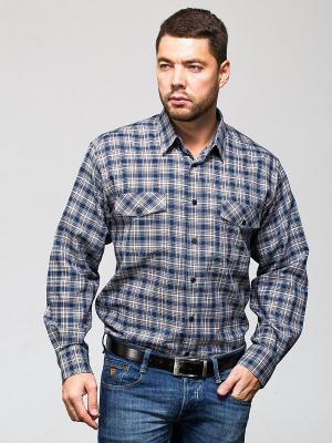 Рубашка John Jeniford. Цвет: синий, бежевый