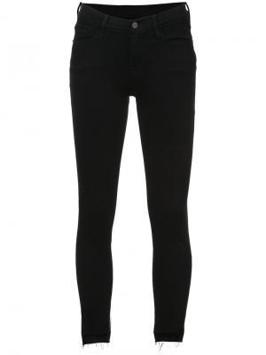 Укороченные облегающие джинсы Jeanne Frame Denim. Цвет: чёрный