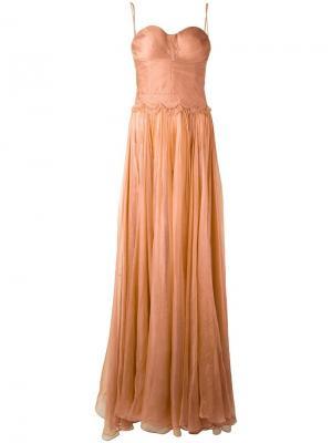 Вечернее платье на тонких бретельках Maria Lucia Hohan. Цвет: розовый и фиолетовый