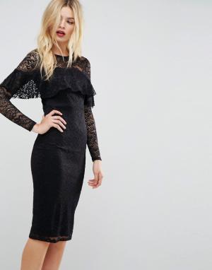 ASOS Кружевное платье-футляр миди с длинными рукавами и оборкой. Цвет: черный