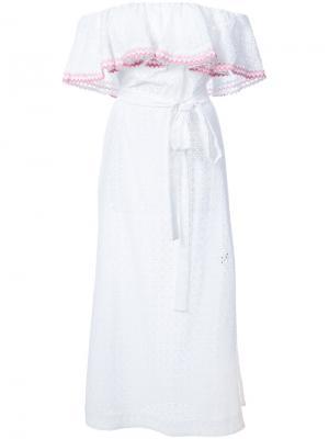Платье с открытыми плечами Lisa Marie Fernandez. Цвет: белый