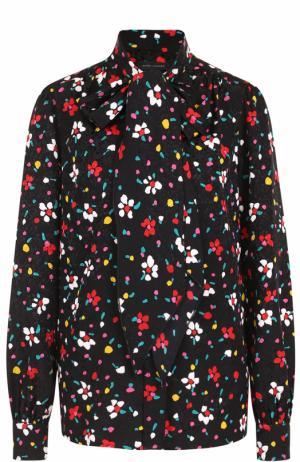 Шелковая блуза с принтом и воротником аскот Marc Jacobs. Цвет: черный