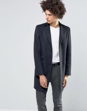 Gianni Feraud Пальто из 80% итальянской шерсти с бархатным воротником. Цвет: черный