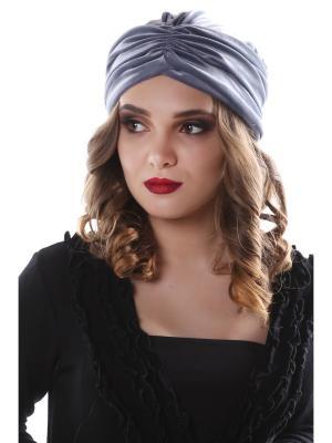 Чалма-шапочка утепленная на флисе Жемчужно-серый бархат предварительно завязанная SEANNA. Цвет: серый