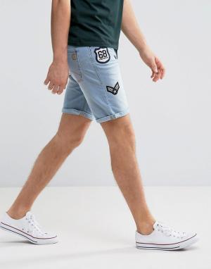 Blend Джинсовые шорты с нашивками. Цвет: синий