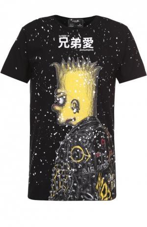 Хлопковая футболка с принтом Dom Rebel. Цвет: черный