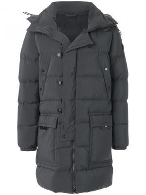 Удлиненное стеганое пальто Peuterey. Цвет: серый