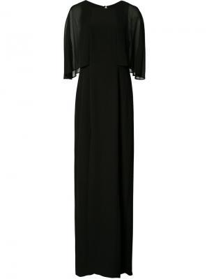 Вечернее платье с прозрачными рукавами Halston Heritage. Цвет: чёрный