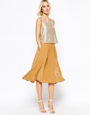 Gestuz Шелковая юбка. Цвет: коричневый
