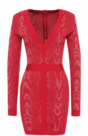 Платье-футляр с V-образным вырезом Balmain. Цвет: розовый