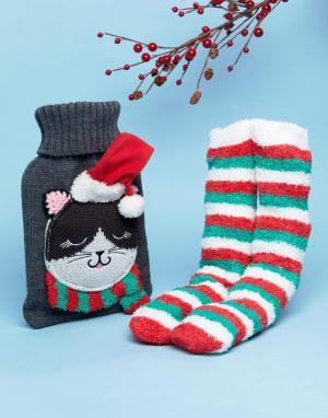 ASOS Новогодний подарочный набор с грелкой и теплыми носками. Цвет: серый