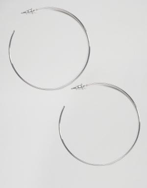 ASOS Тонкие серьги-кольца 50 мм. Цвет: серебряный